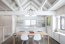 Whitewashed pine paneling and white painted beams give this Lake Tahoe condo a clean, modern look. 'The homeowners have great taste and a fantastic eye for design,' says architect Dustin Littrell.